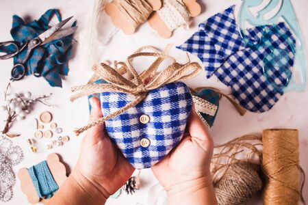 Christmas or Valentine vintage decor - bolue gingham hearts sewing preparations