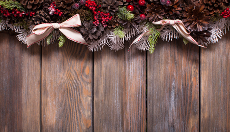 White Shabby Christmas Border With Snow Covered Pinecones Stock