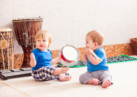Boys with musical instruments Stock Photo