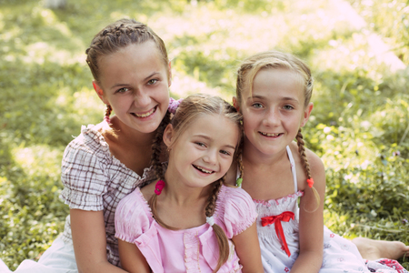 Three girls outdoors