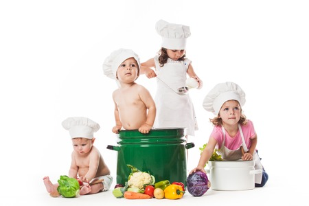 Kids play cook photo