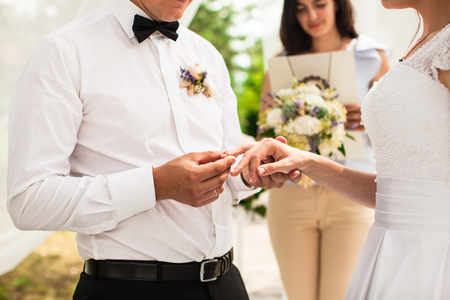 fingers put together: The wedding ceremony Stock Photo