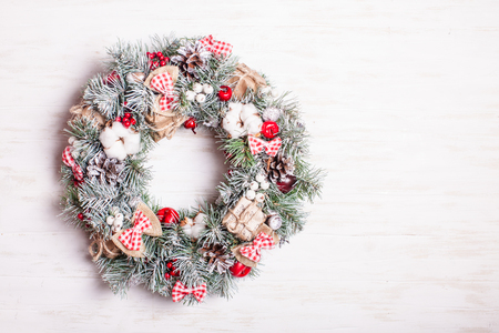 red and white christmas wreath stock photo 88755816 - White Christmas Wreath