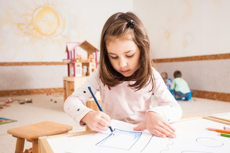 Drawing lesson in kindergarten Stock Photo