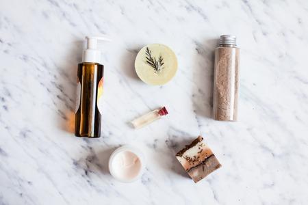 Organic cosmetic flat lay