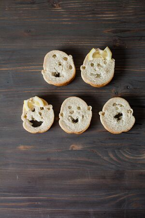 Faces from bread Stock Photo