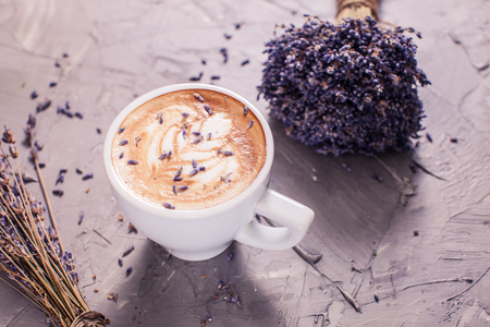 Cup of lavender cappuccino