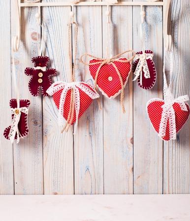 Hearts on hooks Stock Photo