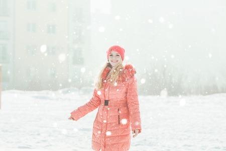 Girl in red parka