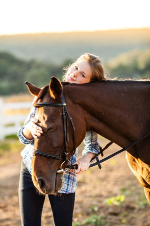 Beautiful girl with horse Stock Photo
