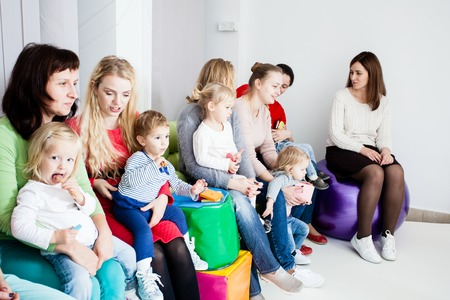 Group of mothers with kids