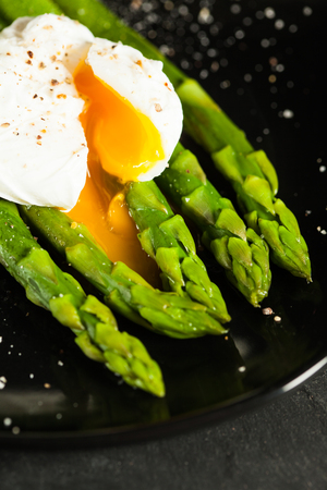 Green boiled Asparagus with egg
