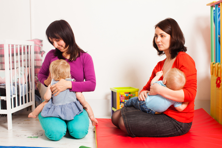 Mothers are breastfeeding the toddlers