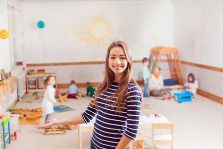 Portrait of teacher in a Waldorf kindergarten