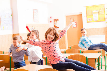 pupils have fun after classes Stock Photo