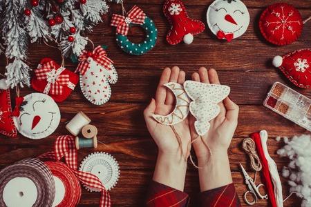 felt Christmas decorations Stock Photo