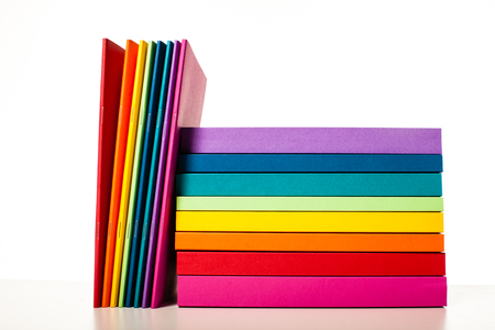 Colorful collection of the books and notebooks