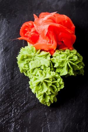 wasabi and ginger - traditional appetizer for sushi Stock Photo
