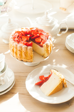 French Fresh Strawberry charlotte cake and one piece