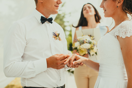 The wedding ceremony, close up hands with rings