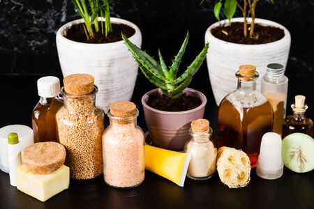 Close up vintage bottles with organic ayurvedic cosmetic