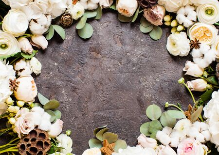 Top view of flowers border. Stylish wedding composition, floristic design with copy space