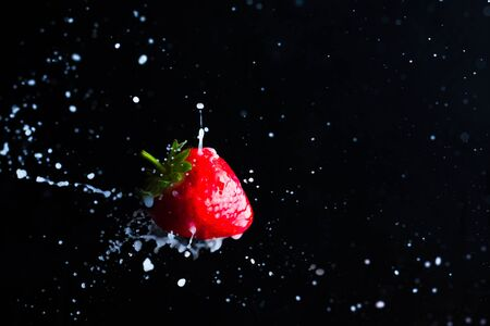 Strawberry fruit close up and milk splashes on the black background. Yoghurt or cocktail with strawberry concept Stok Fotoğraf