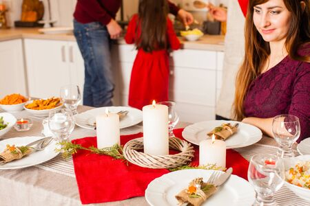 Woman look on the Chritmas candles, holiday Christmas Stock Photo