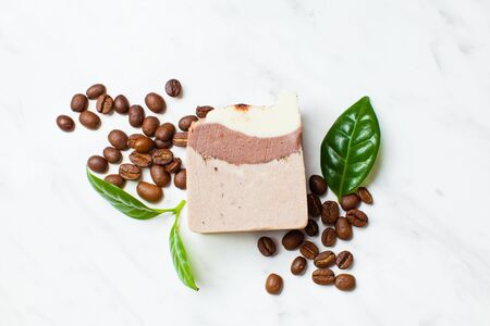 Homemade soaps. Variety of colorful handmade soap bars on wooden background