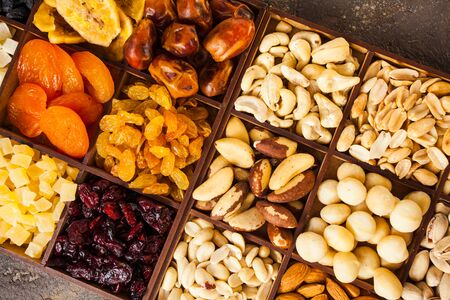 Assorted nuts and dried fruits close up