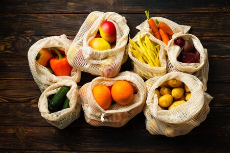 eco organic cotton net bags with vegetables