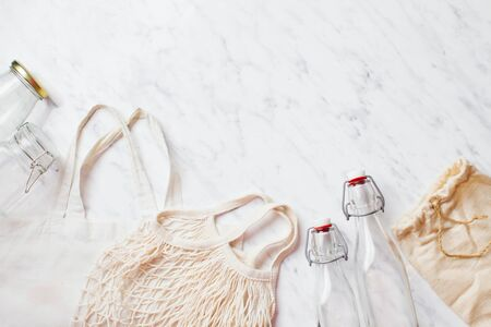 Cotton bags and glass jars for zero waste for shopping