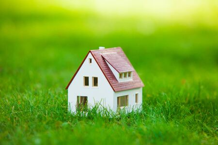 Small cute model house close up in the grass and daisies in the evening. Stock fotó