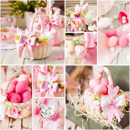 White wicker Easter basket with handmade decorations