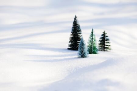 Small toy christmas trees on the snow