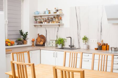 Phenomenal Modern And Design Scandinavian Kitchen With Plants Short Links Chair Design For Home Short Linksinfo