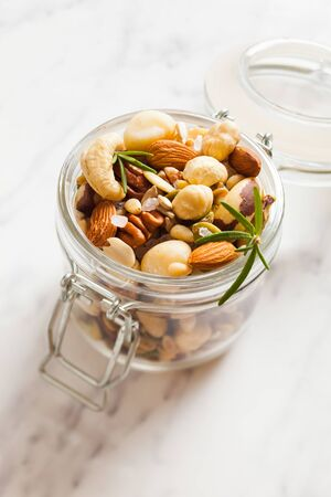 Healthy snack - mix of various nuts with salt
