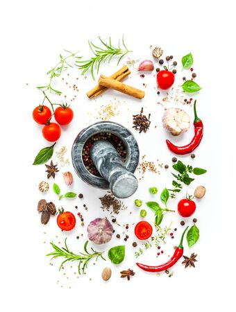 Tomatoes and various herbs and spices isolated on white background, top view Stock Photo