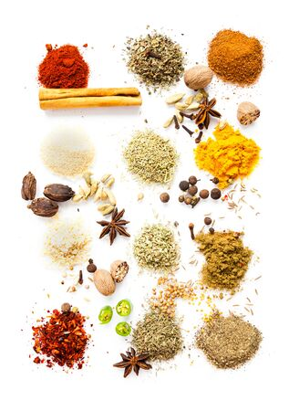 Dry herbs and spices top view, beautiful food