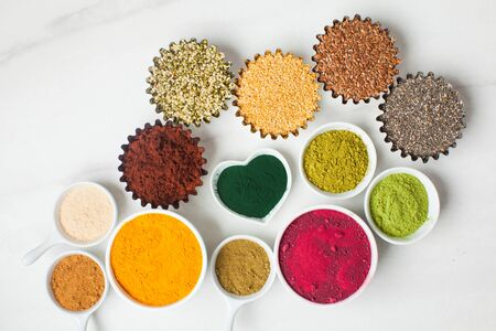 Top view of various dietary supplements for salads Stock Photo
