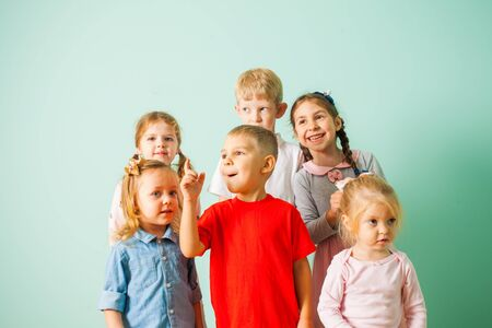 Group of children enjoing and singing song together