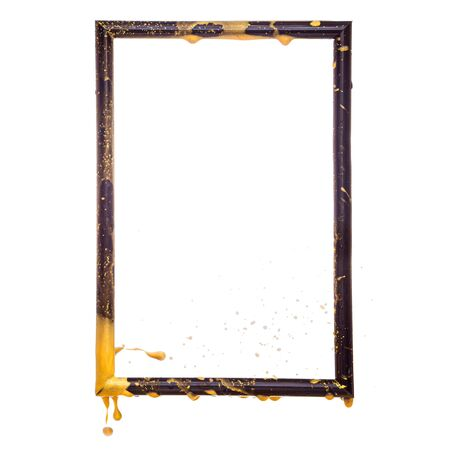 Golden splashes over the black frame - modern art concept, empty mock up