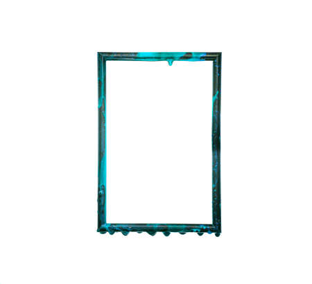 Melted shiny blue frame isolated on white