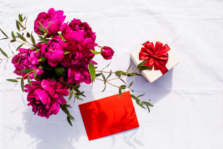 Set of gift, flowers and greeting card