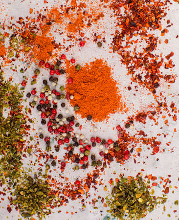The fragrant dried peppers artistically scattered on the table