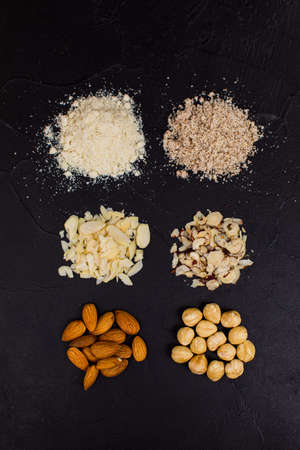 Peanuts, almonds and hazelnuts in various forms