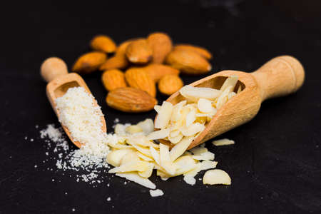Closeup of excellent almonds in different shapes