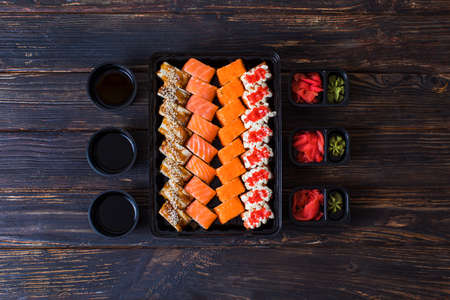 Set of different types of sushi rolls for gourmets Standard-Bild