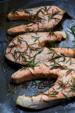 Baked in the oven salmon with rosemary