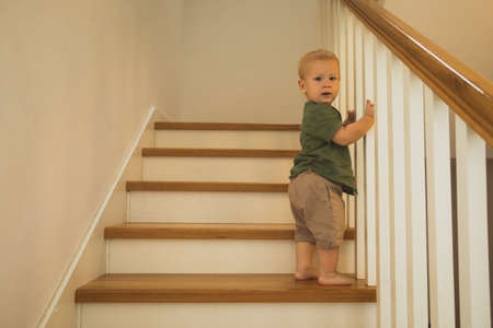 Climbing the stairs is boys new achievement